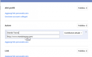 screen aggiungi link personalizzato