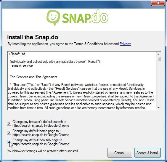 Rimuovere Search Snapdo Toolbar in quattro semplici passaggi